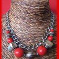 Collier rouge et chaine argent (CC11)