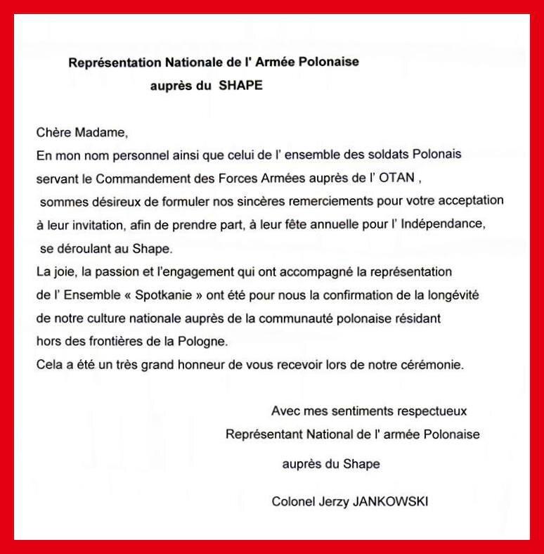 SPOTKANIE   SHAPE: lettre officielle de remerciement du Colonel