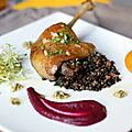 Homemade duck confit, beluga lentils, beet puree and herb vinaigrette