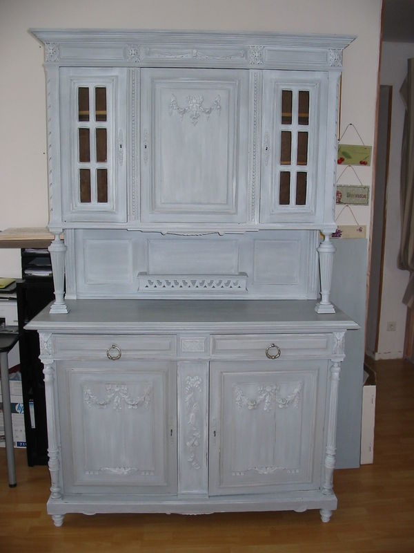 Elegant perfect meuble cuisine gris patine repeindre - Customiser un meuble ancien en bois ...