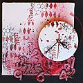 Une horloge en scrapbuttons!!!