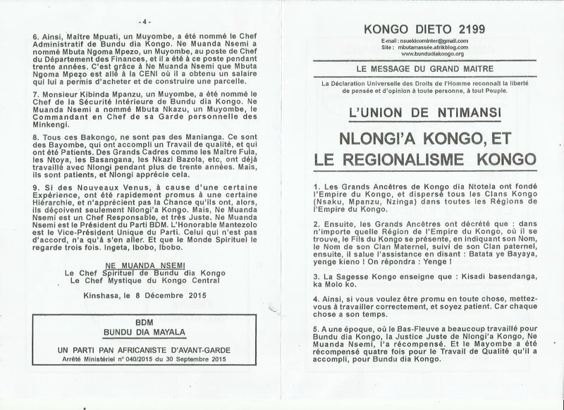 NLONGI'A KONGO ET LE REGIONALISME KONGO a