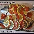 Daurade royale au four, ecailles de tomate et citron