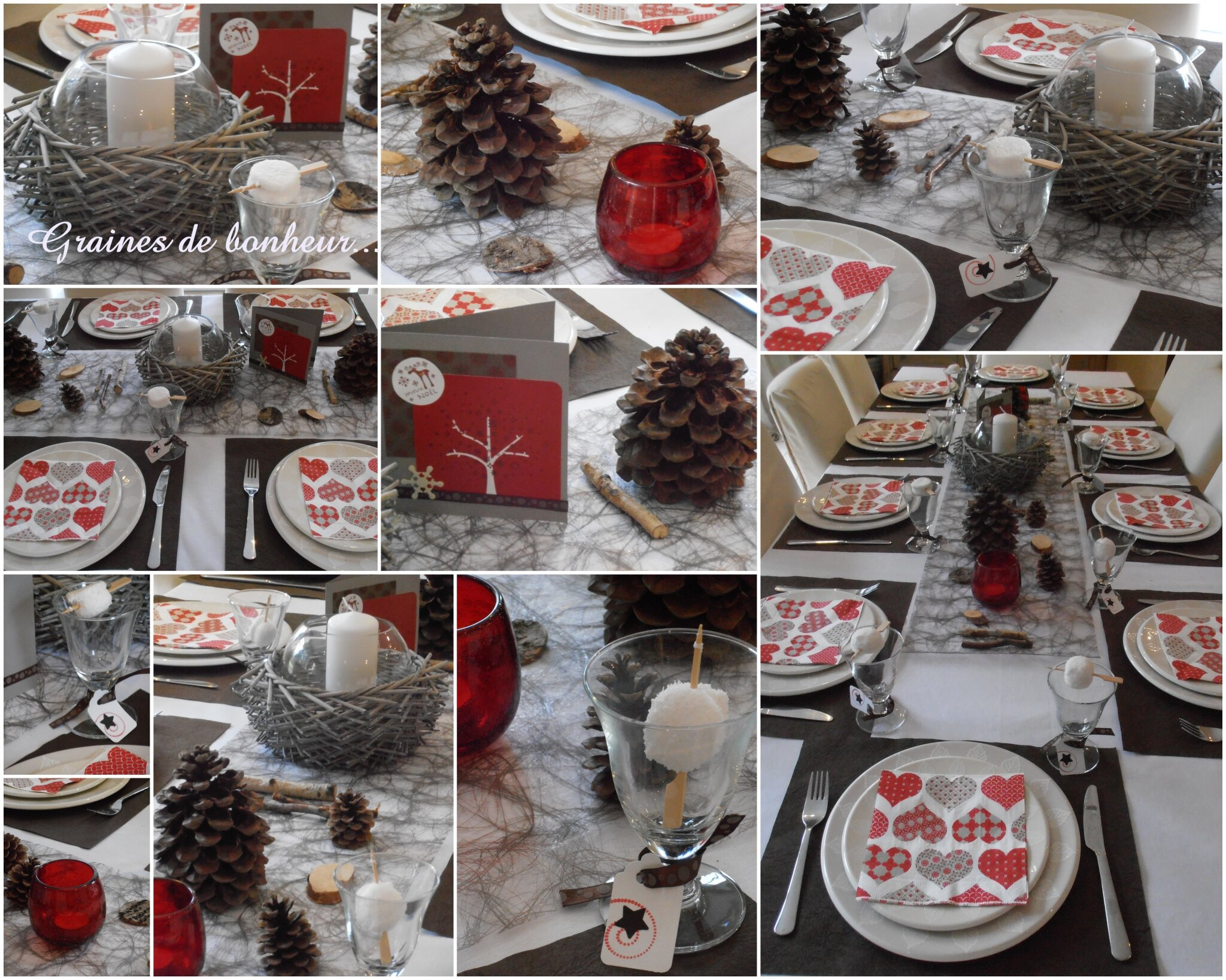 D coration de tables de f tes graines de bonheur - Decoration table de noel rouge et blanc ...