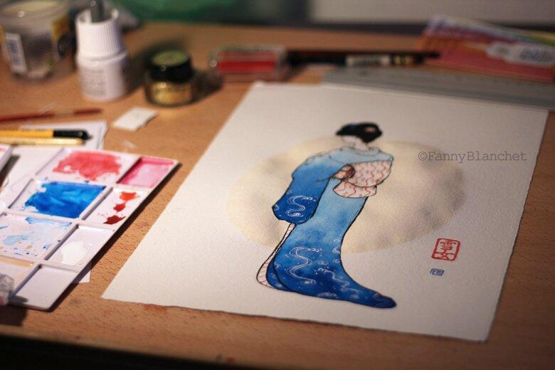 kimonobleufblanchetatelier