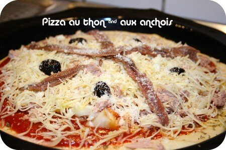 pizza au thon anchois ou c pres anchois autour de ma table. Black Bedroom Furniture Sets. Home Design Ideas