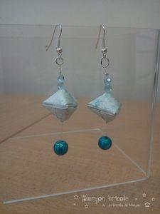 boucles d'oreilles berlingots bleues