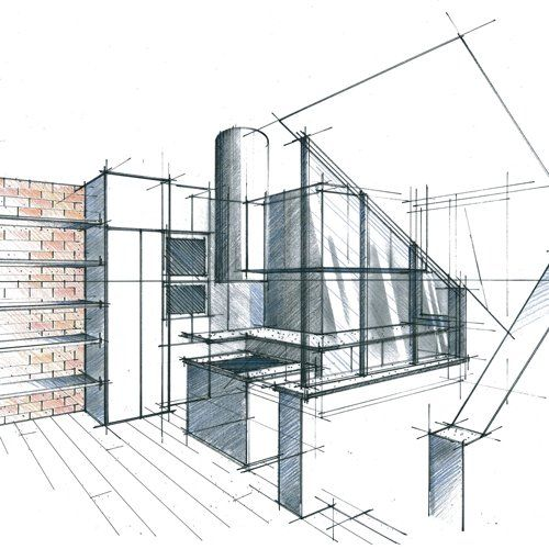 Croquis perspectifs et plans d 39 architecture album photos for Plan d architecture