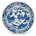 A blue and white 'mythical beast' dish, wanli mark and period