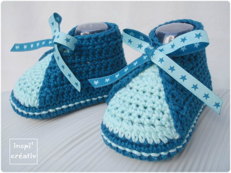 tuto chaussons b b au crochet 2 inspirations cr atives. Black Bedroom Furniture Sets. Home Design Ideas