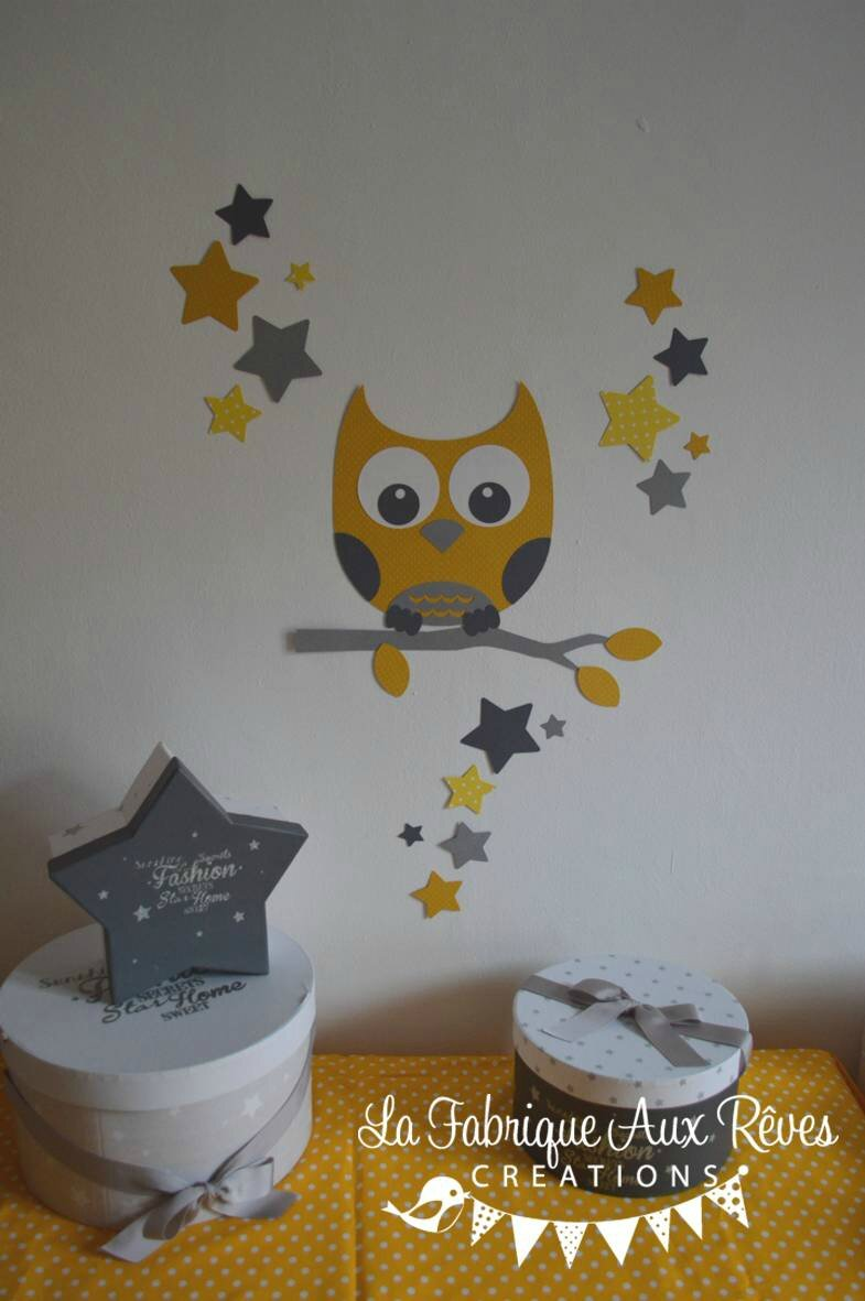 stickers d coration chambre enfant b b branche hibou toiles jaune gris clair gris fonc. Black Bedroom Furniture Sets. Home Design Ideas