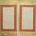 Double contiguous manuscript folios from farhang-i jahangiri, mughal, india, c. 1608