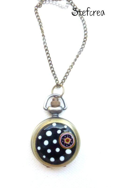 montre_bronze_noir_pois_blanc