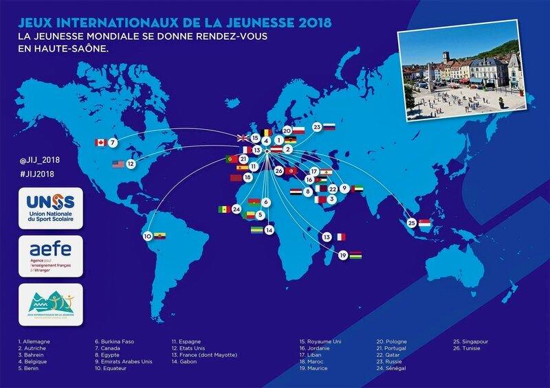 UNSS 2018 JEUX OLYMPIQUES SCOLAIRES carte
