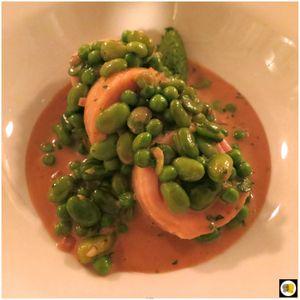 Poulet Label anglais, petits pois, fèves, sauce au Xérès (1)