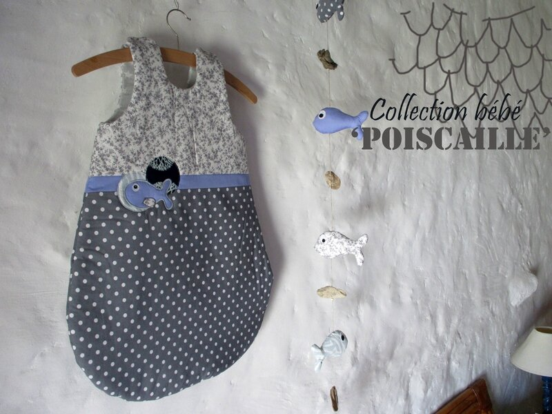Gigoteuse bébé mixte collection 'Poiscaille' - Vue d'ensemble avec guirlande - ShanouK