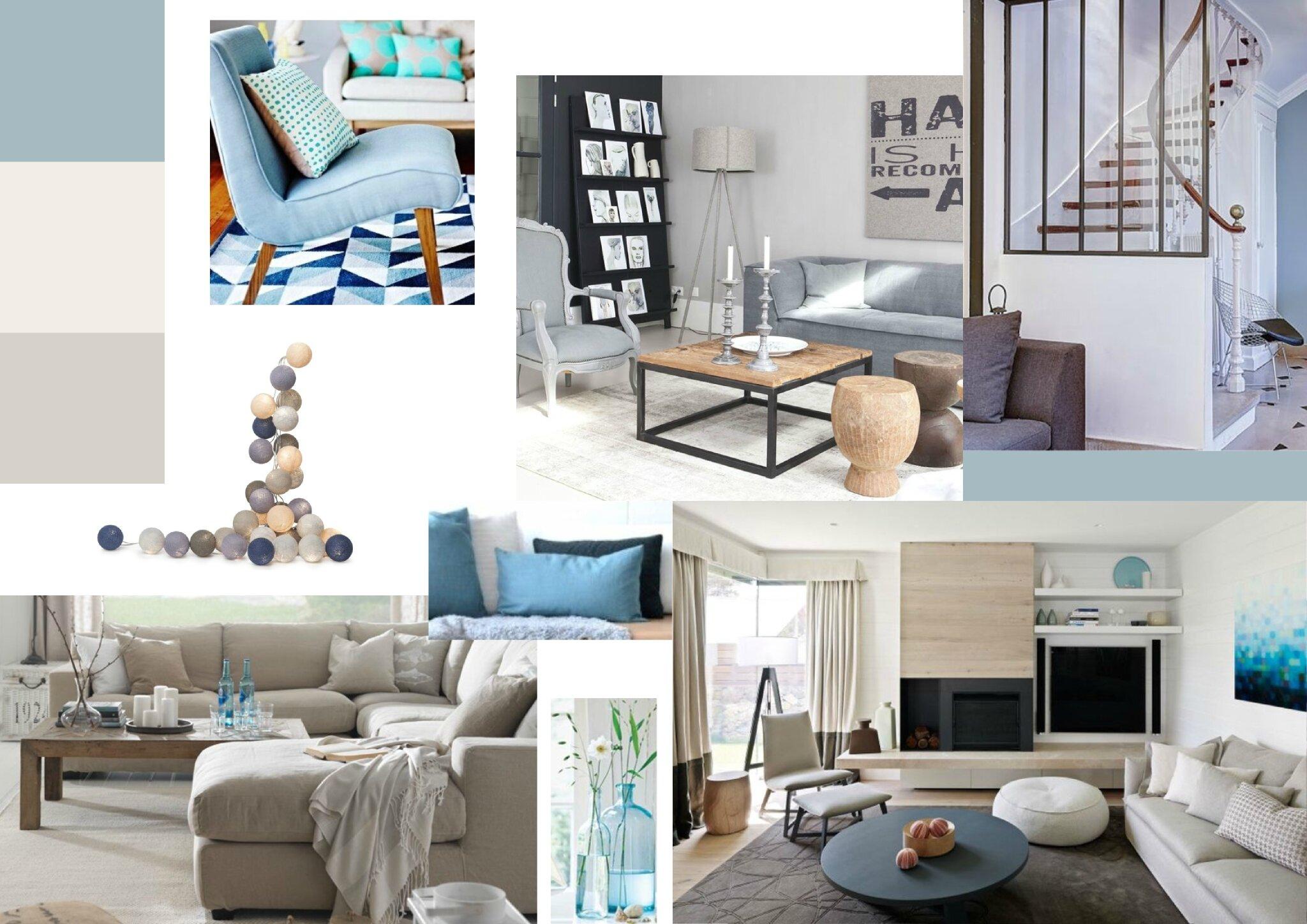 Projet client espaces de vie en gris et bleu sonia for Deco sejour bleu