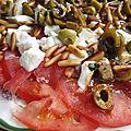 Carpaccio de tomates, pignons et parmesan
