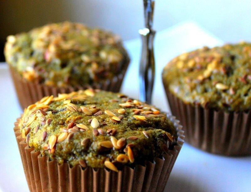 Muffins lin rhubarbe framboises
