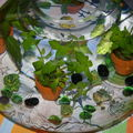 plantes aquatiques , tissu ika et petits poissons......