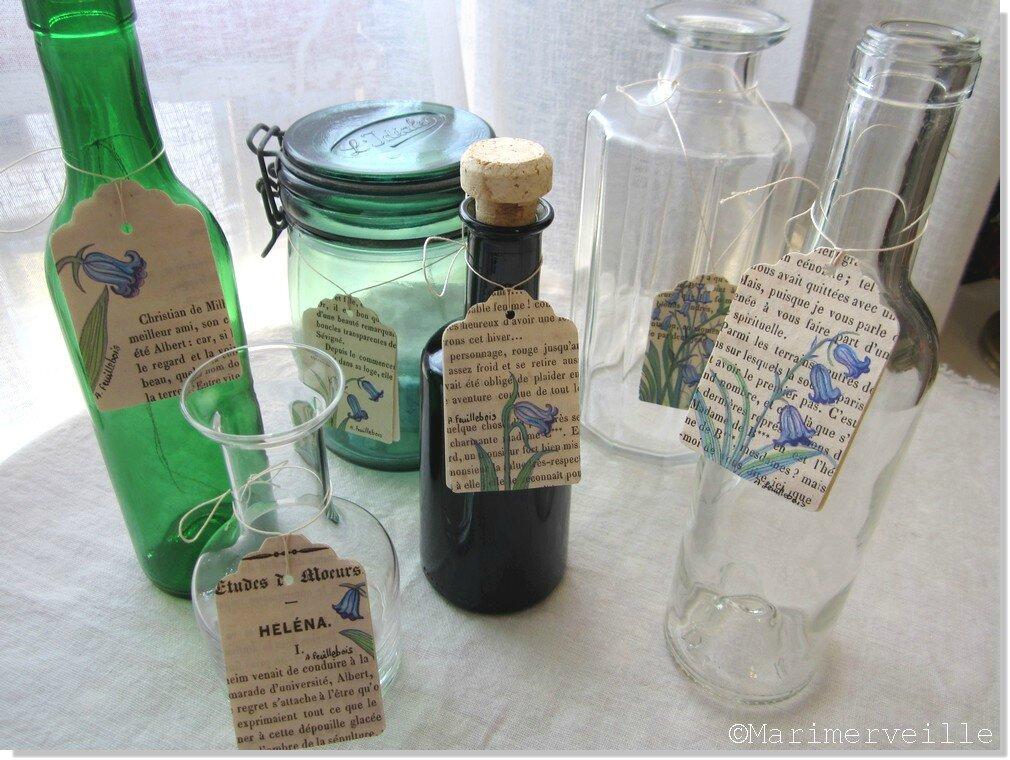 collection vases récup' aux étiquettes