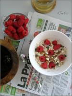 Overnight Porridge au Lait de Coco, Chocolat & Framboises 001