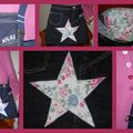 sac jeans étoile fleurs