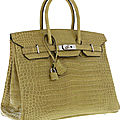 Hermes 35cm shiny vert anis porosus crocodile birkin bag with palladium hardware