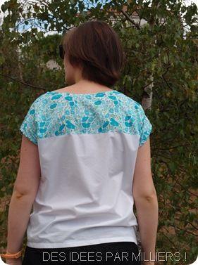 Blouse bleu et blanche (dos)