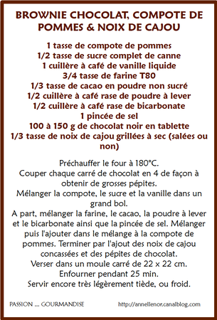 Brownie chocolat, compote de pommes &amp; noix de cajou_fiche