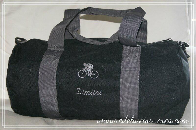 Sac sport polochon noir - Dimitri et vélo de course brodé