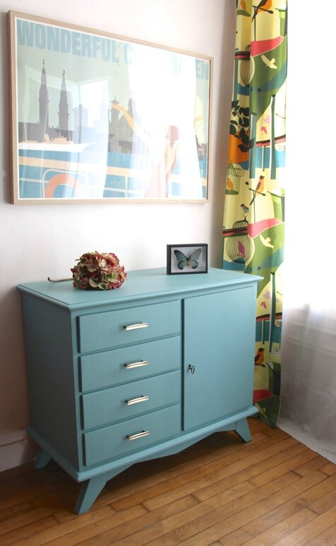 commode-vintage-bleue