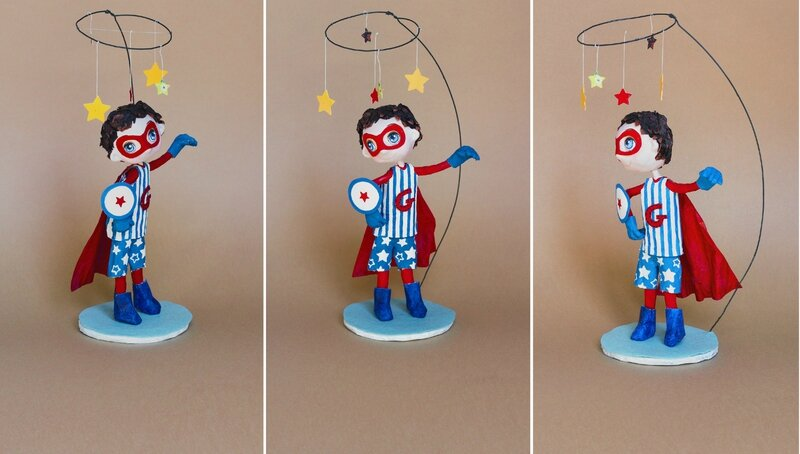 superheros_sculpture papier mache _ alinepallaro