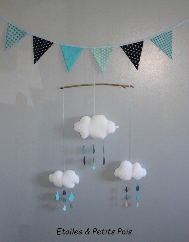 pour d corer son petit nid des mobiles nuages des coussins et des guirlandes etoiles et. Black Bedroom Furniture Sets. Home Design Ideas