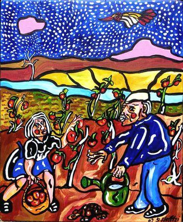 MATTEI Lulu et les tomates 2009 35,9 x 29,4