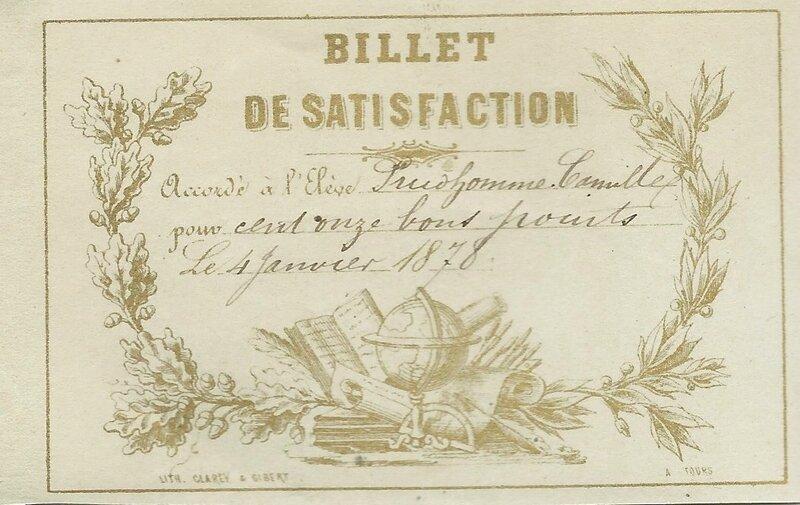 Billet satis 111 BP 4-1-1878 Camille PRUDHOMME