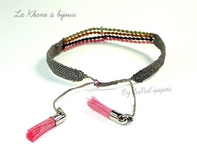 bracelet macramé pompons roses cristal roseor gold sand opal4