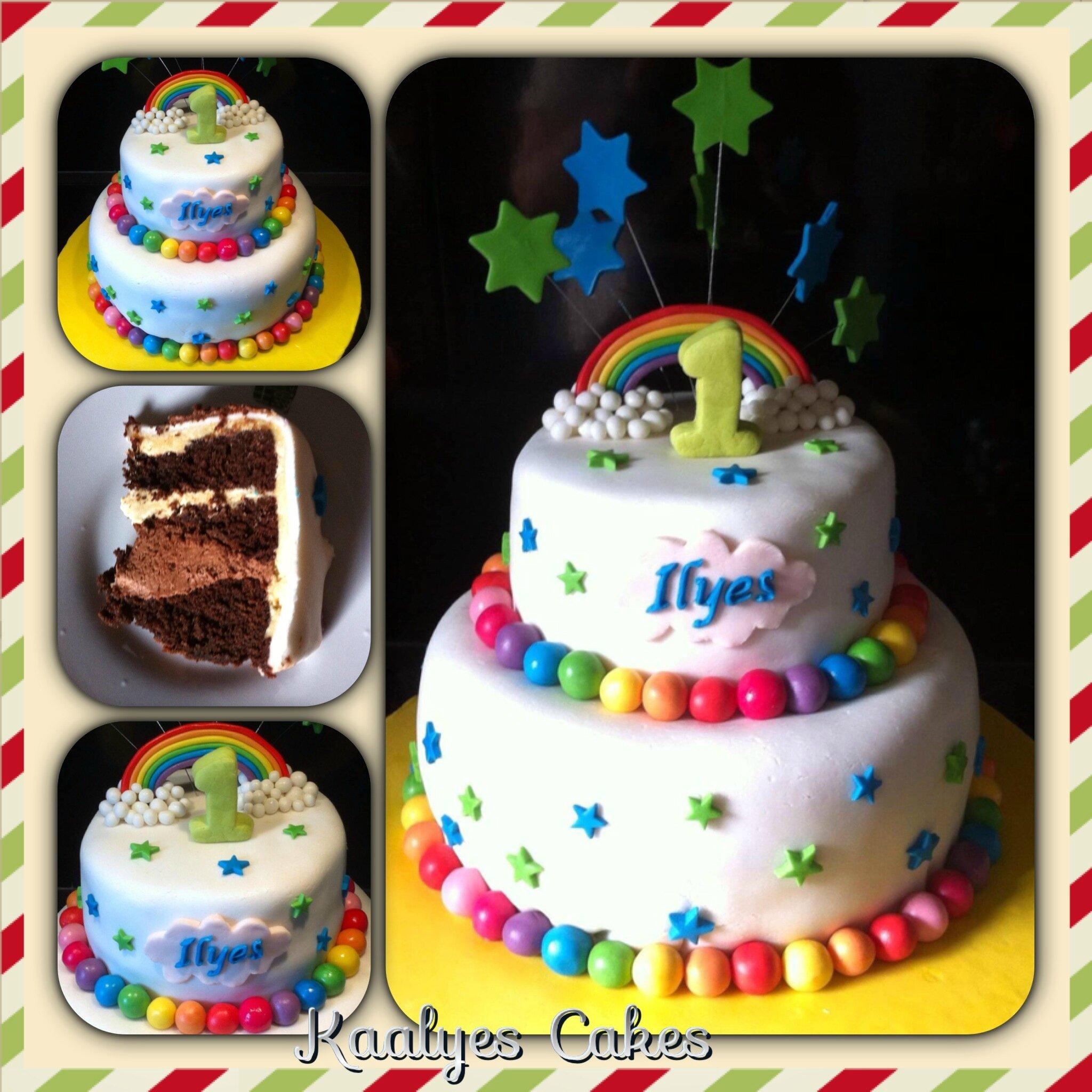 Gâteau Arc en ciel & étoiles