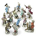 Twelve meissen porcelain monkey band figures, 19th/20th century