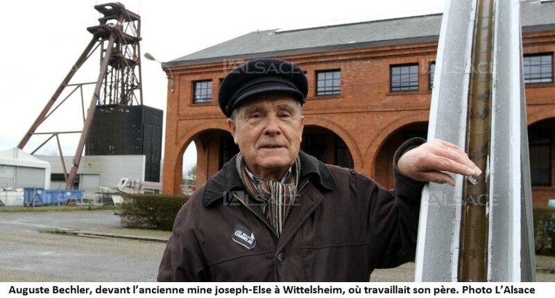 Auguste Bechler, devant l'ancienne mine joseph-Else à Wittelsheim, où travaillait son père