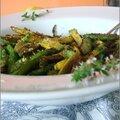 Mini courgettes sautees a l'ail & au thym - mini zucchini saltados al ajo & al tomillo