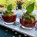 verrines gazpacho-crevettes-guacamole