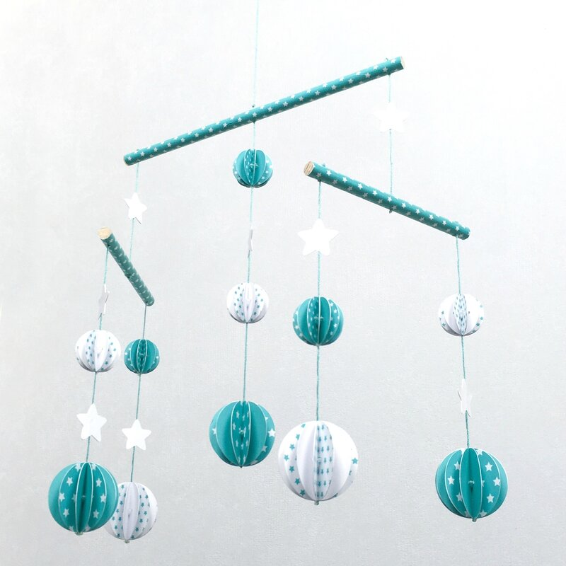 mobile boule origami vert turquoise 1