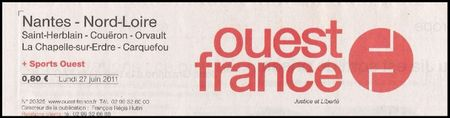 article ouest france juin 2011 - titre journal