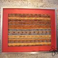 Tableau textile, tissé chaine mohair, trame fils divers