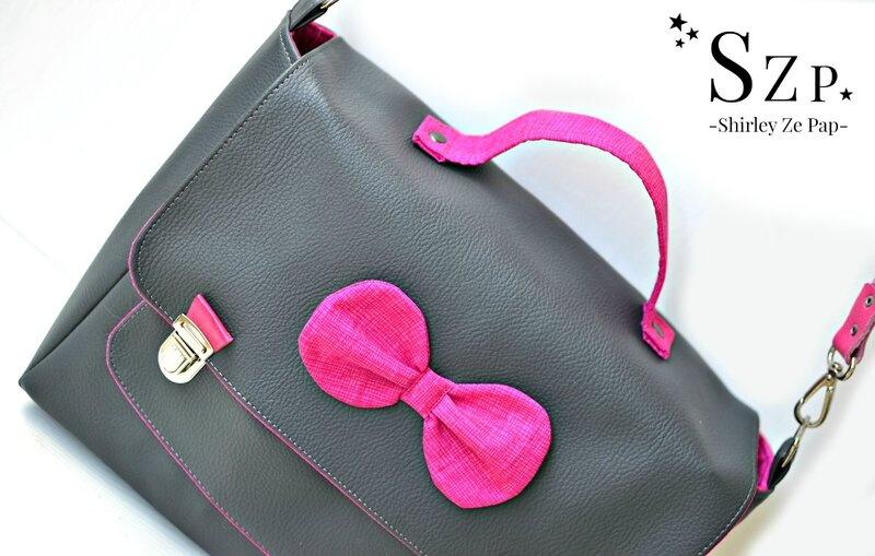 sac cartable femme, cartable preppy, simili cuir gris antracithe et rose fuchsia, szp, shirley ze pap