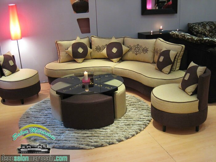 Salon moderne beige marron 2014 salon marocain moderne for Les salons modernes