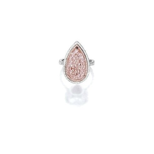 Fancy Light Pink-Brown Diamond and Diamond Ring