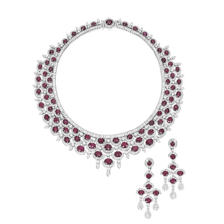 Ruby and Diamond Necklace and Pair of Matching Pendent Earrings