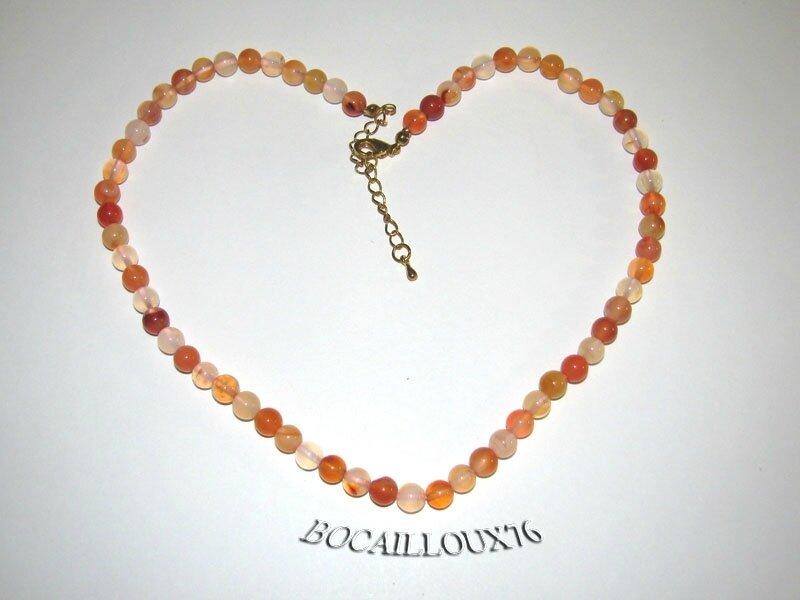 Collier CORNALINE 8 Perles D